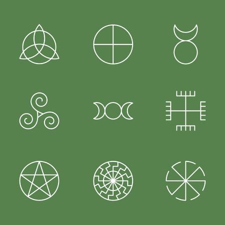 Pagan ancient symbols, mystery sacred icons, illustration vector