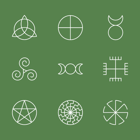 Pagan ancient symbols, mystery sacred icons, illustration vector