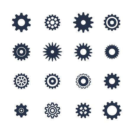 Cogs symbol set on white background, settings icon, vector illustration Çizim