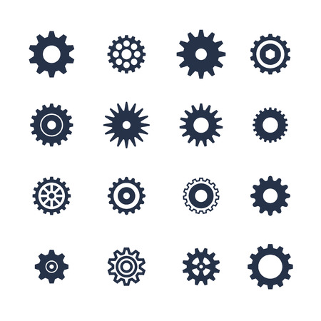 Cogs symbol set on white background, settings icon, vector illustration Vettoriali