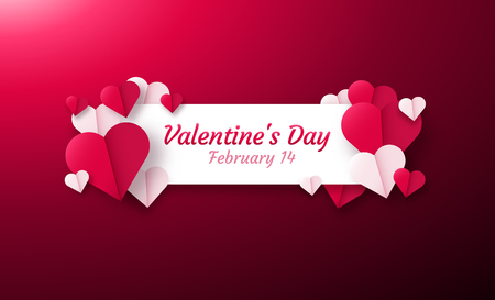 Valentines day background with paper origami hearts divided into half. Vector illustration. Ideal for flyer, invitations, banners, greeting cards.