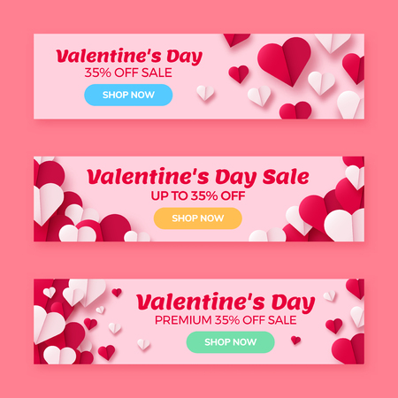 Valentines day sale background with paper origami hearts divided into half. Vector illustration. Ideal for invitations, banners, greeting cards.