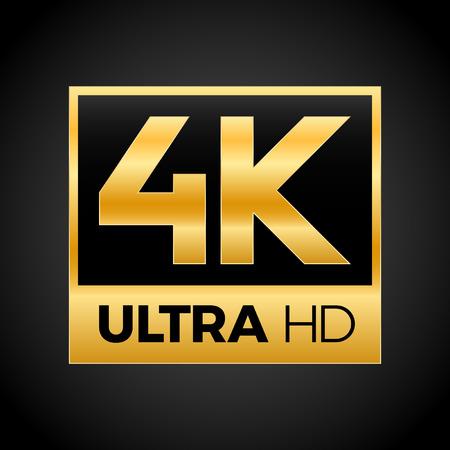 Symbol 4K Ultra HD, znak rozdzielczości 4K w wysokiej rozdzielczości, UHD - 2160p