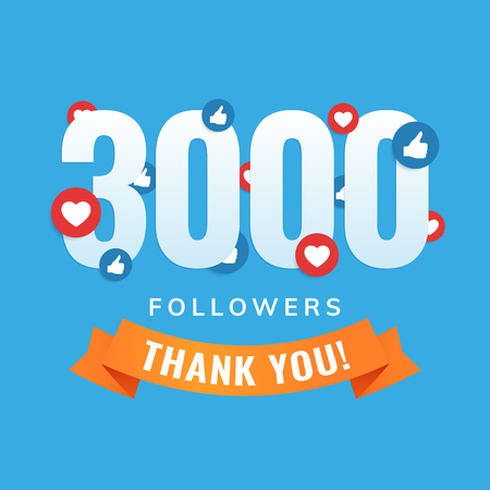3000 followers, social sites post, greeting card vector illustration Illustration