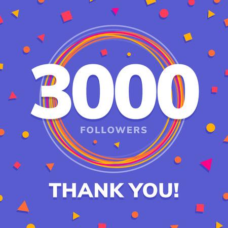 3000 followers, social sites post, greeting card vector illustration Illustration