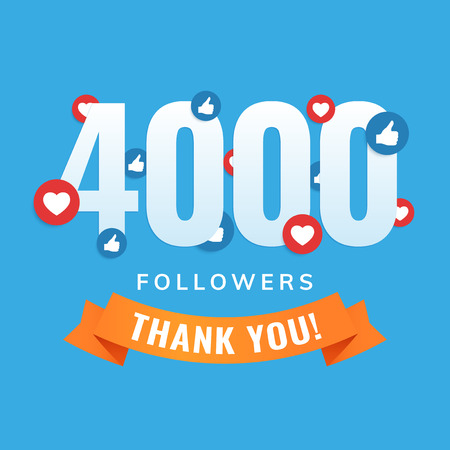 4000 followers, social sites post, greeting card vector illustration
