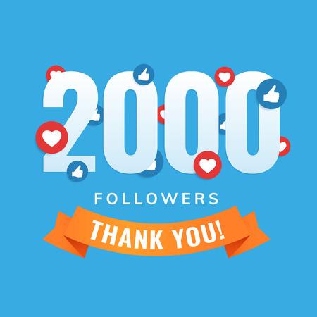 2000 followers, social sites post, greeting card vector illustration  イラスト・ベクター素材