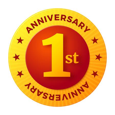 First Anniversary badge, gold celebration label, vector illustration