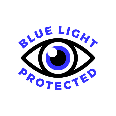 Blue light protected eye symbol, blue light causes health problems and should not be used before bedtime, Protection logo Ilustração