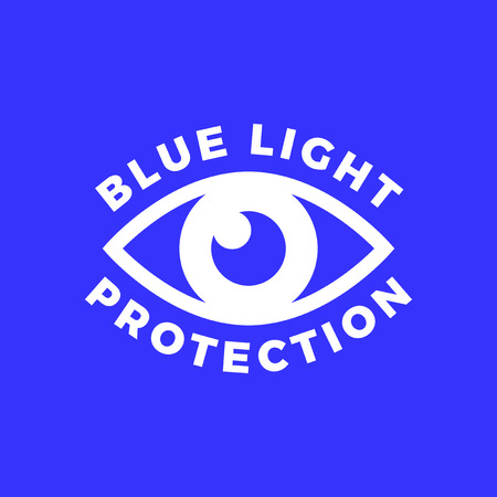 Blue light protected eye symbol, blue light causes health problems and should not be used before bedtime, Protection logo 일러스트