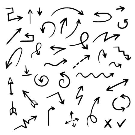 Hand drawn arrow set, vector illustration graphic