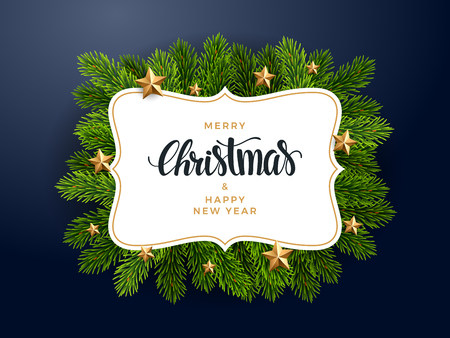 Christmas fir background, realistic look, with stars decorations