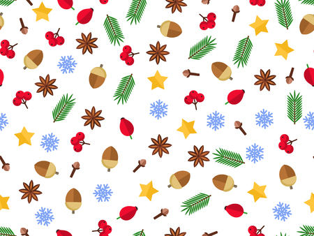 Christmas fir background, realistic look, with berries, star and pearl decorations Illusztráció