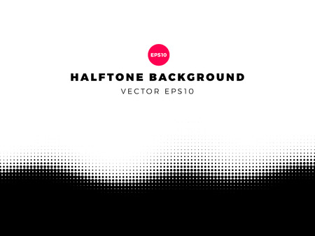 Halftone dots background, bottom frame, overlay pattern, vector illustration