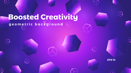 Abstract geometric background, cubes graphic, colorful futuristic vector illustration Illusztráció
