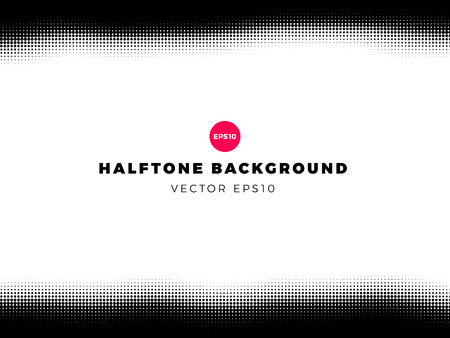 Halftone dots background,top and bottom frame, overlay pattern, vector illustration