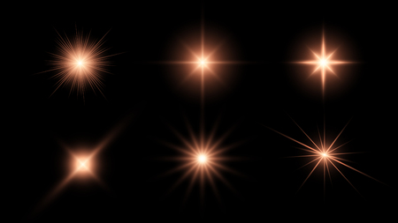Glowing stars, light effects graphic elements, sparkles vector illustration