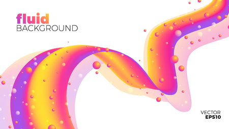 Fluid background, abstract colorful shape, white background isolated, vector illustration