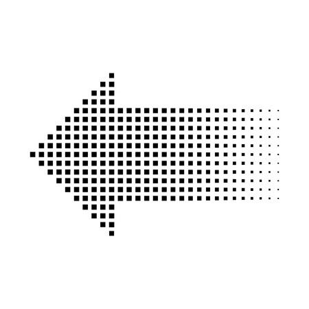 Halftone gradient dots arrow, small squares, isolated graphic element, vector illustration