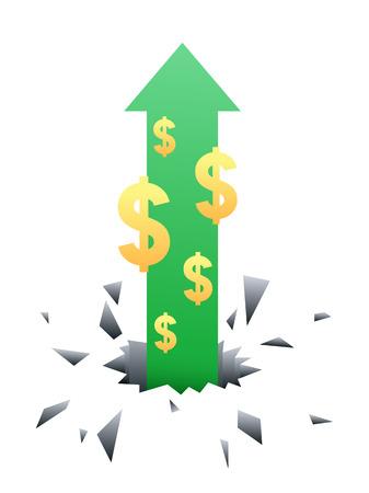 Arrow and dollar sign flying through the floor upward, vector illustration graphic