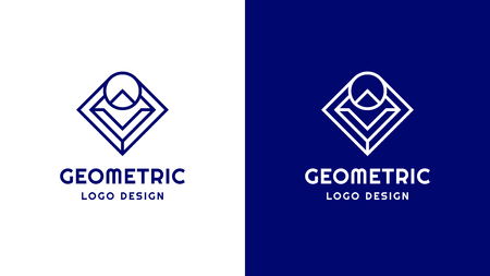 Geometric Logotype template, positive and negative variant, corporate identity for brands, blue product logo, vector design