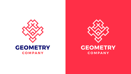 Geometric Logotype template, positive and negative variant, corporate identity for brands, red product logo, vector design