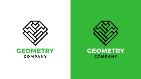 Geometric Logotype template, positive and negative variant, corporate identity for brands, mining product logo, vector design