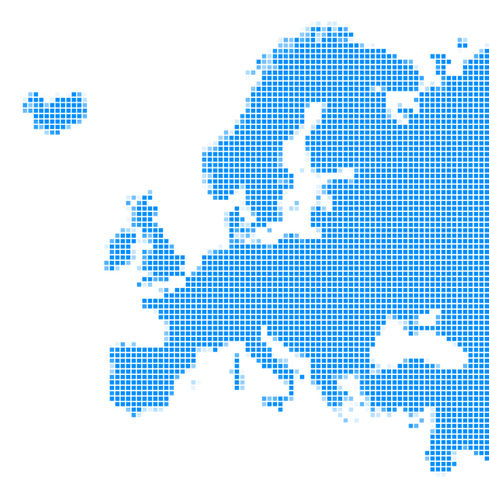 Map of Europe, squares with spacing, blue color, vector illustration