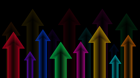 Arrows up, neon color gradient, isolated on black background, illustration vector