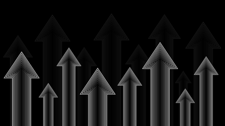 Arrows up, grayscale, isolated on black background, illustration vector
