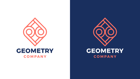 Geometric Logotype template, positive and negative variant, corporate identity for brands, symetry product logo, vector design