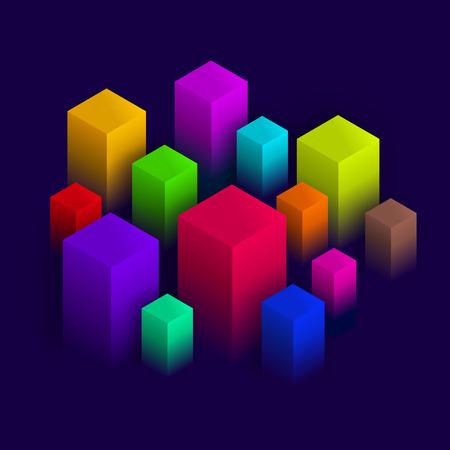 Isometric abstract design, Geometric blocks on dark violet background, vector illustration