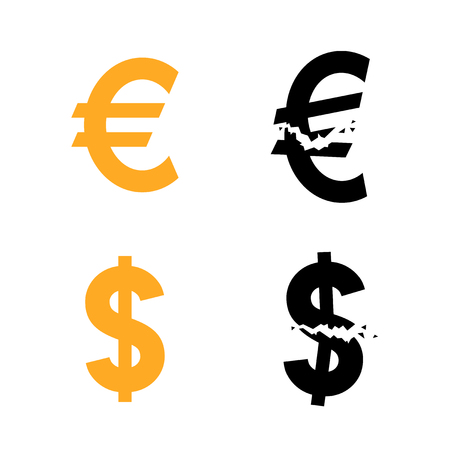 Euro and dollar currency symbol and their broken variant, vector illustration Illustration