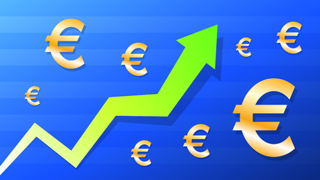 Graph show value grow of euro, green arrow and gold euro symbol, vector illustration Illusztráció