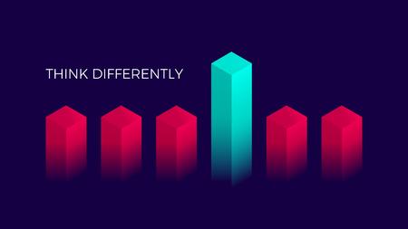 Isometric think differently design, Geometric blocks on dark violet background, vector illustration