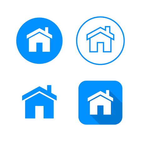 Home icon, four variants, classic symbol, icon in circle, outlined symbol in circle, and flat icon with long shadow, vector illustration, blue color
