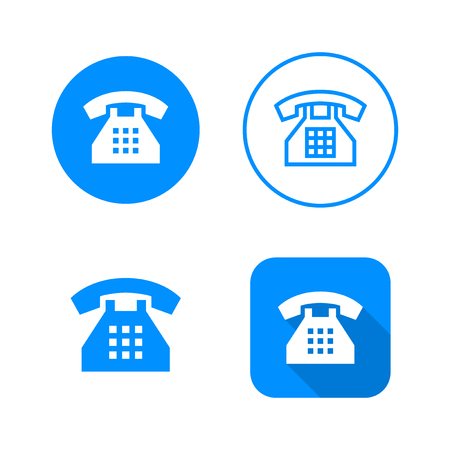 Phone icon, four variants, classic symbol, icon in circle, outlined symbol in circle, and flat icon with long shadow, vector illustration, blue color
