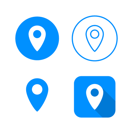 Pointer icon, four variants, classic symbol, icon in circle, outlined symbol in circle, and flat icon with long shadow, vector illustration, blue color Illusztráció