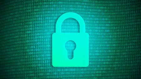 Digital security, lock on binary background, online password concept, vector illustration Illusztráció