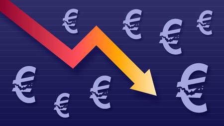 Graph show value loss of euro, modern trendy colors, gradient arrow and purple eur symbols, vector illustration