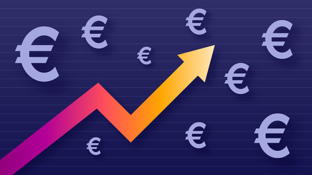 Graph show value growth of euro, modern trendy colors, gradient arrow and purple eur symbols, vector illustration