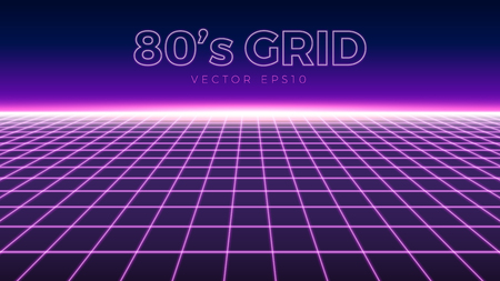 Perspective grid, retro 80s design element, neon colors, vector illustration