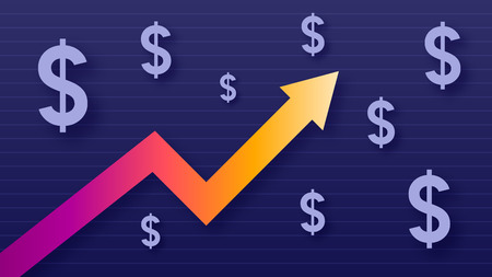 Graph show value growth of dollar, modern trendy colors, gradient arrow and purple usd symbols, vector illustration Illustration
