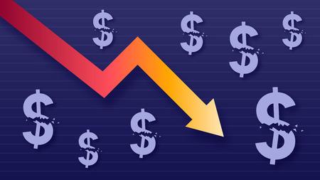 Graph show value loss of dollar, modern trendy colors, gradient arrow and purple usd symbols, vector illustration Illustration