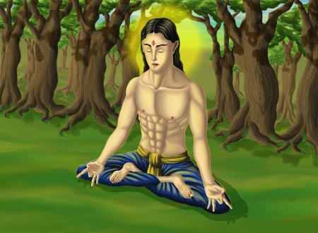 yoga samadhi in the forest photo