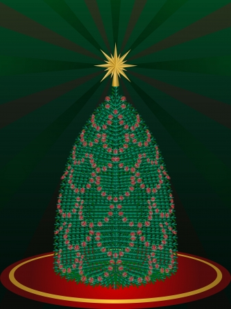 Green christmas tree decorate with red led light Stock Photo - 16556868