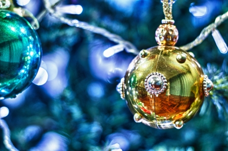 close up two christmas balls photo