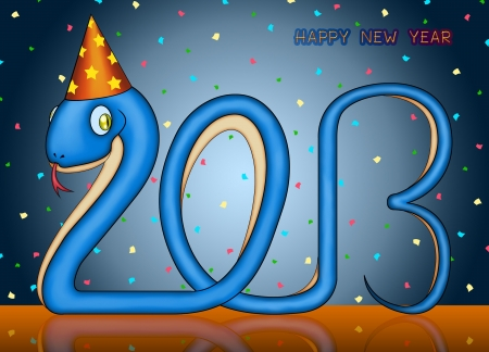 jubilating: happy new year of the small snake 2013 Stock Photo
