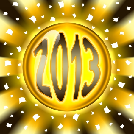 jubilating: golden ball 2013 and radial background Stock Photo
