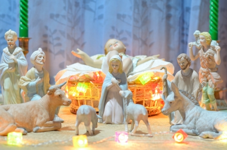 baby jesus statue on the basket Stock Photo